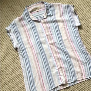 Cotton Candy Linen blend rolled sleeve button down